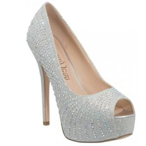 sparkly peep toe pumps